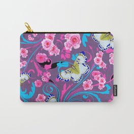 PINK ROSES & BUTTERFLIES  BLUE SCROLLS ART Carry-All Pouch