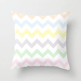Pastel Chevron on White Throw Pillow
