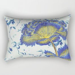 floral chinoiserie in blue and gold Rectangular Pillow