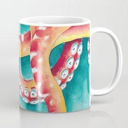 Orange Red Tentacles Octopus Squid Watercolor Coffee Mug