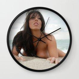 8821-SS Beautiful Naked Woman Nude Beach Sand Surf Big Breasts Long Black Hair Sexy Erotic Art Wall Clock