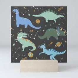 Dinosaurs in Space in Blue Mini Art Print