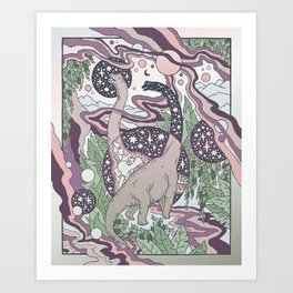 Jurassic Portal | Purple Haze Palette | Dinosaur Science Fiction Art Art Print