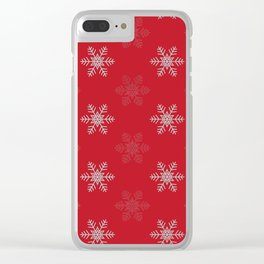 Snowflake Pattern   Winter   Hygge   Scandi   Red and White   Clear iPhone Case