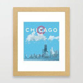 Chicago - Light blue Framed Art Print