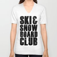 snowboard V-neck T-shirts featuring WHS Ski and Snowboard Club by slothcats