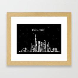 Dubai skyline by night Framed Art Print