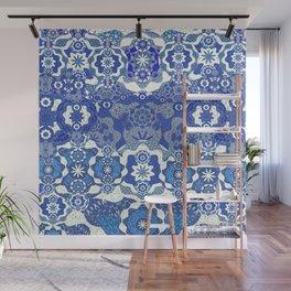 Boujee Boho Deep Blue Elegant Lace Wall Mural