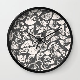abstract pattern, Firewood texture, tree cut, gray and beige grunge wood background Wall Clock