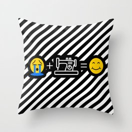 Sewing Machine Emoji Funny Sewing Makes me Happy Throw Pillow