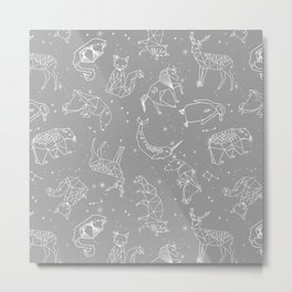 Origami Constellations - geometric animals constellations design - grey Metal Print