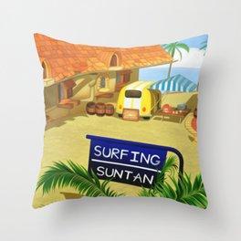 Costa Del Sol Surfing Suntan Throw Pillow