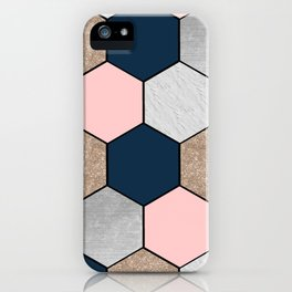 Navy and peach marble and foil hexagons iPhone Case