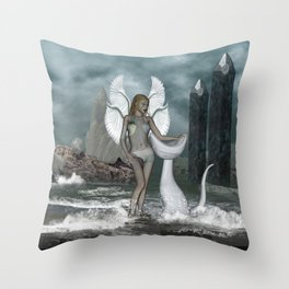 Beautiful fairy in the dreamworld Throw Pillow