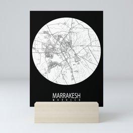 Marrakesh City Map of Morocco - Full Moon Mini Art Print