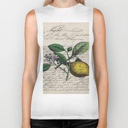 vintage Mediterranean summer fruit orchard citrus blossom yellow lemon Biker Tank