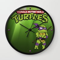 ninja turtle Wall Clocks featuring Ninja Turtle by flydesign