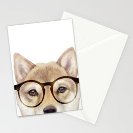 Shiba inu with glasses Dog illustration original painting print Stationery Cards