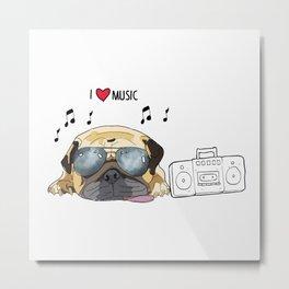 I love music-rock pug dog Metal Print