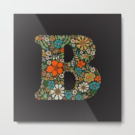 Hippie Floral Letter B Metal Print