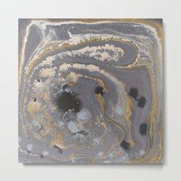 Fluid Gold Concrete Metal Print