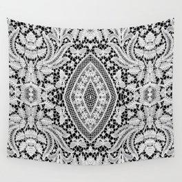 Elegant Black White Floral Lace Damask Pattern Wall Tapestry