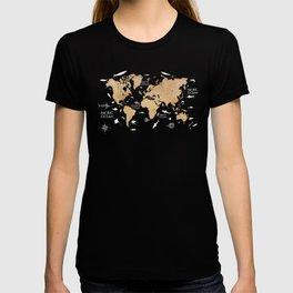 World Map Oceans Life blue #map #world T-shirt