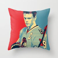 blackhawks Throw Pillows featuring Towes One Goal by Thousand Lines Ink