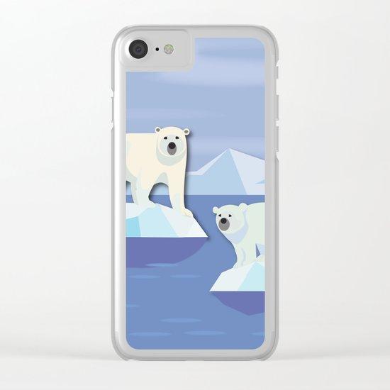 Polar Bears On The Rocks Clear iPhone Case