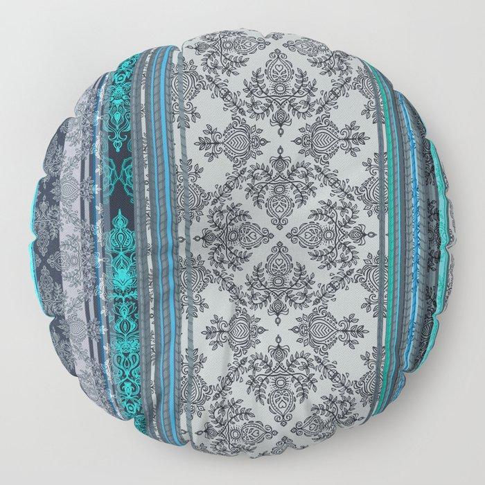 Teal, Aqua & Grey Vintage Bohemian Wallpaper Stripes Floor Pillow