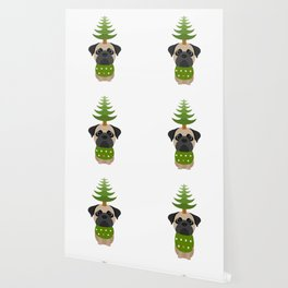 Cristmas dog | green | Pug Dog Wallpaper