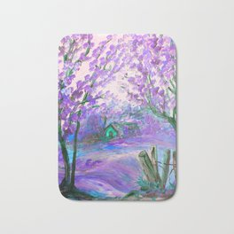 Purple Abstract Landscape with Trees Bath Mat