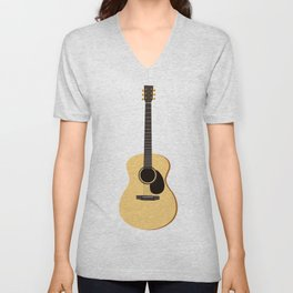 Acoustic Guitars Pattern Unisex V-Neck