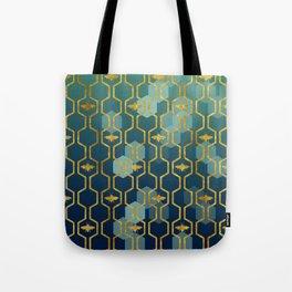 golden gometric bee pattern Tote Bag