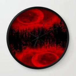 RED MOON FOREST Wall Clock