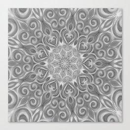 Gray Center Swirl Mandala Canvas Print