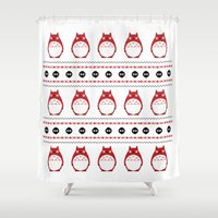 ghibli Shower Curtains featuring Ghibli Winter Pattern - Red by Chloe Morris