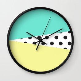 Color Block & Polka Dots Wall Clock