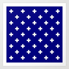 Swiss cross pattern on navy blue Art Print