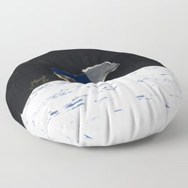 White horse and snow Floor Pillow