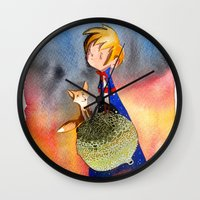 little prince Wall Clocks featuring Little Prince by Jose Luis Ocana