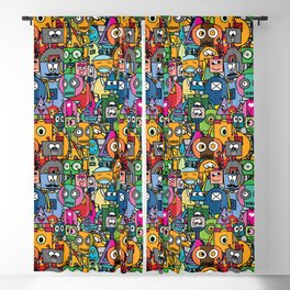 All robots - cute and colorful pattern Blackout Curtain
