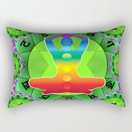 SANSKRIT GREEN HEART CHANTING MANTRA ART Rectangular Pillow