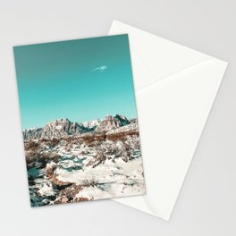 Vintage Desert Snow Hike // Mojave Wilderness in Winter Mountains Landscape Photograph Stationery Cards