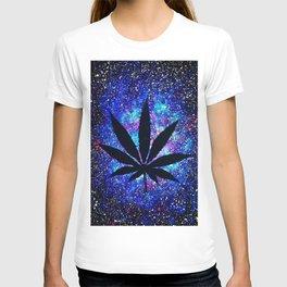 Galaxy Weed Leaf - Purple T-shirt