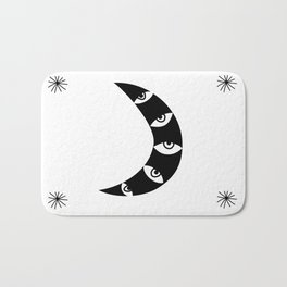 Black Crescent Moon and Stars on white Bath Mat