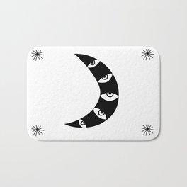 Black Crescent Moon and Stars on white Bath Mat