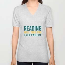 Reading will take you everwhere Unisex V-Neck