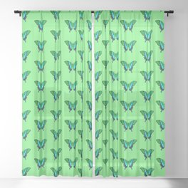 Swallowtail Butterfly in Green, Turquoise & Black Sheer Curtain