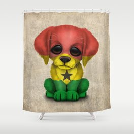 Cute Puppy Dog with flag of Ghana Shower Curtain